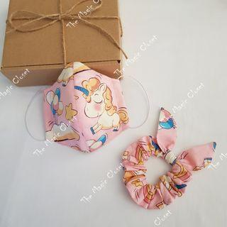 Handmade Reusable Kids Cloth Mask & Hair Scrunchie (1 set) Gift Set