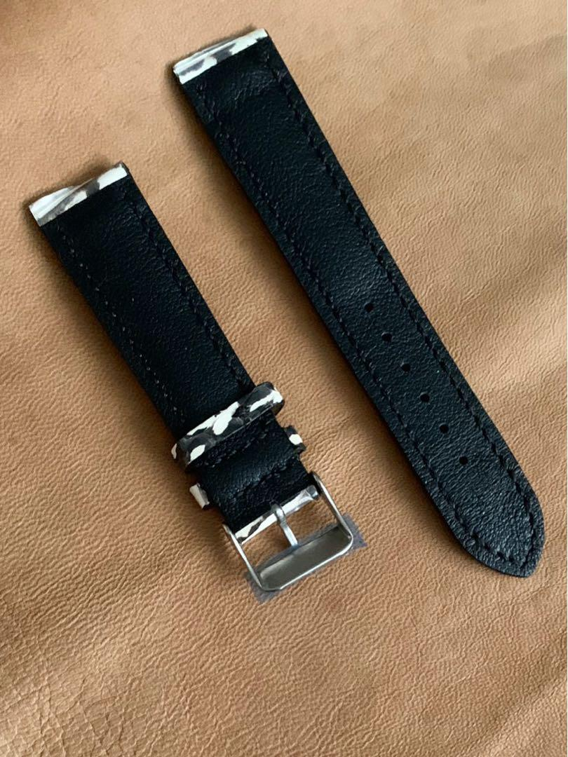20mm/18mm Monochrome Black White Snake 🐍 Python Watch Strap  (exceptional, only piece, once sold no more 🤗 ) Standard Length- L:120mm S:75mm