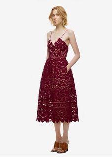 Maroon Crotchet Midi Dress