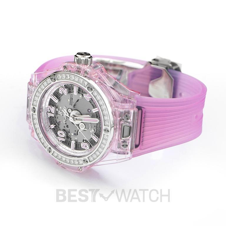 [NEW] Hublot Big Bang One Click Pink Sapphire Diamonds Automatic Skeleton Dial Unisex Watch 465.JP.4802.RT.1204