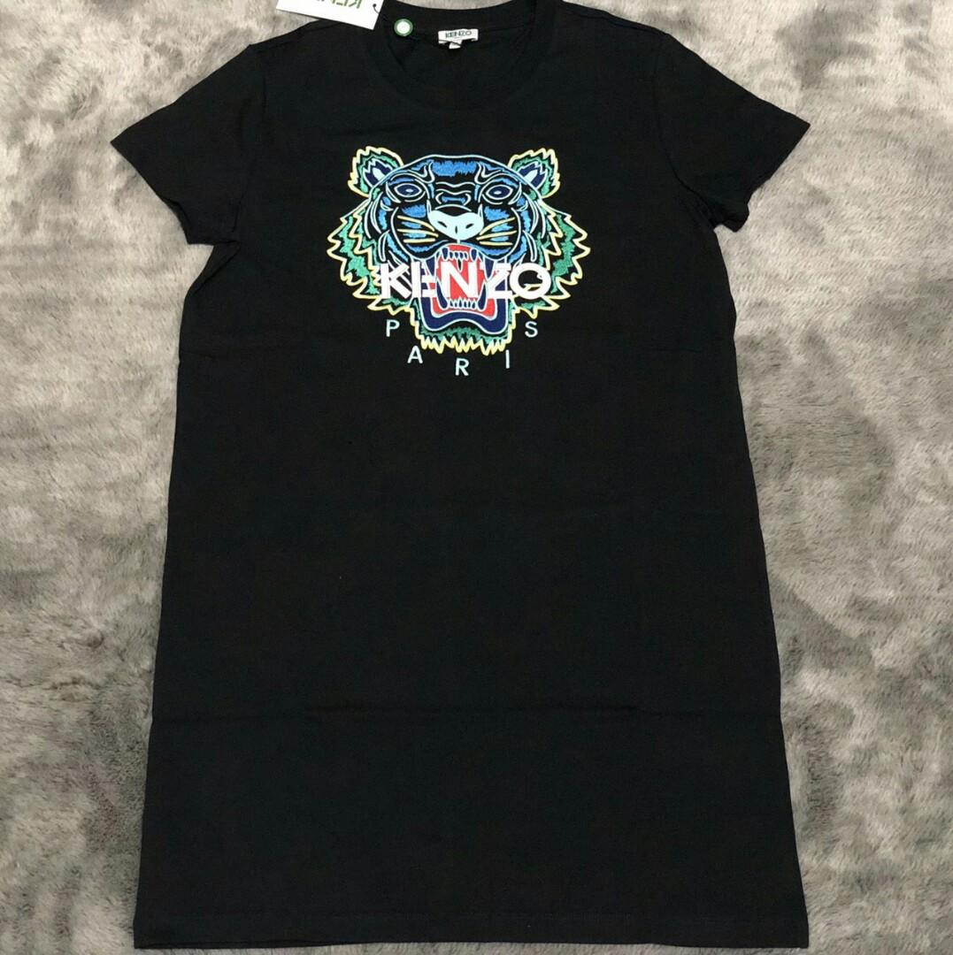 Ready  Kenzo Tiger Woman Short Sleeve Dress in Black/Green  sz S M  (Embrodiery Tiger)