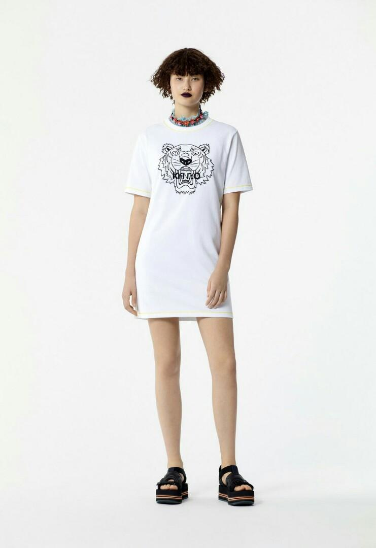 Ready Kenzo Woman Printed Tiger Short Sleeve Yellow Lace in White  sz S M L XL