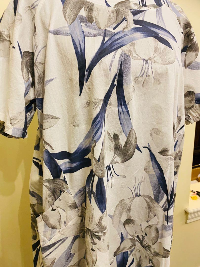 White and blue cotton dress Beyond Capri made in Italy size S/M/L