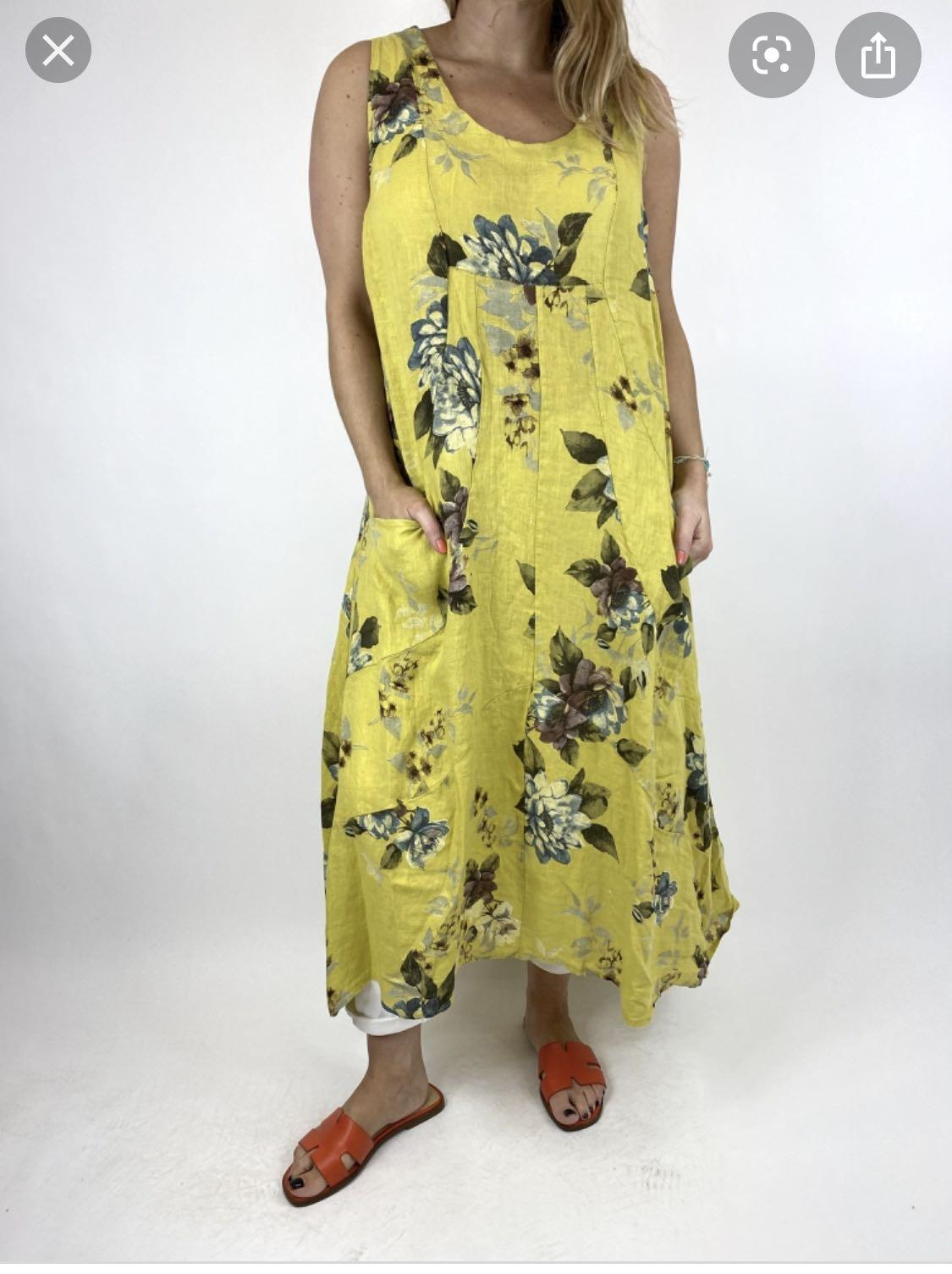 Yellow flower dress/cover up 100% linen Made in Italy size S/M/L/XL 97% cotton $60