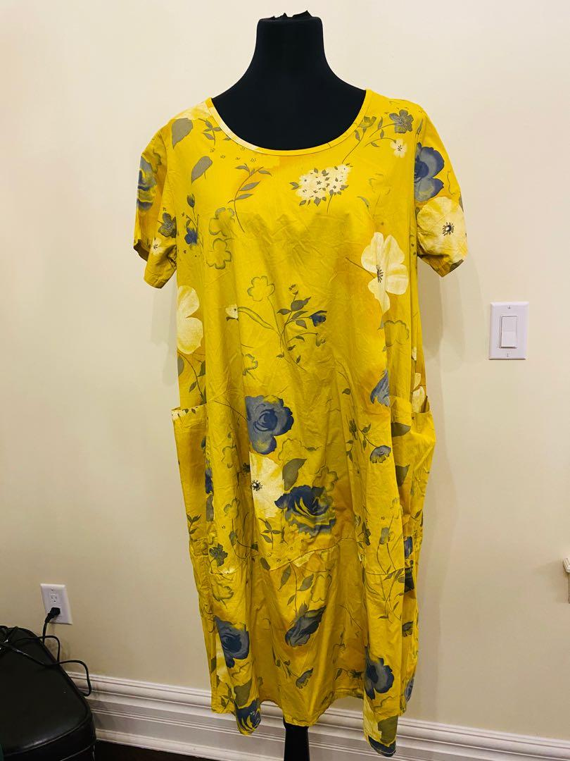 Yellow flower dress/cover up Made in Italy size S/M/L/XL $60