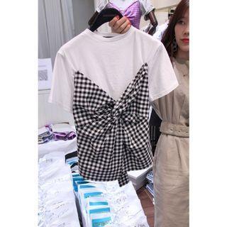 韓國格子假兩件上衣 t恤 後綁帶