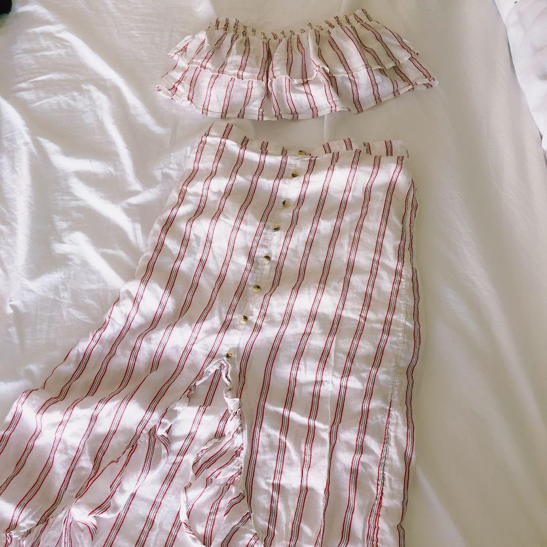 American eagle two piece tube top and maxi skirt red striped
