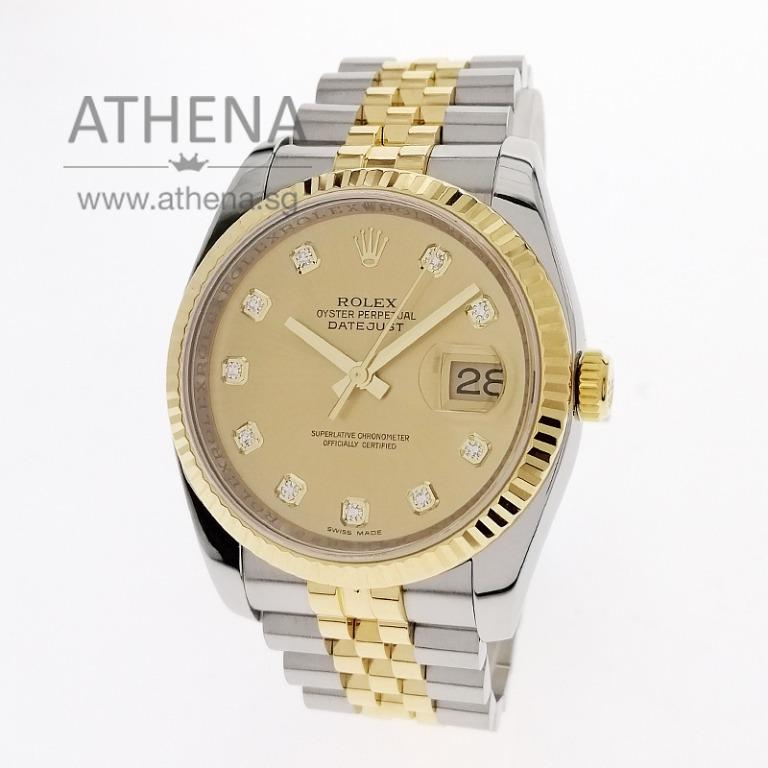 "ROLEX ""HALF-GOLD"" MENS OYSTER PERPETUAL DATEJUST ""M"" SERIES ""GOLD DIAMOND DIAL"" WITH CERT & CHAPTER RING 116233 JGWRL_1105"