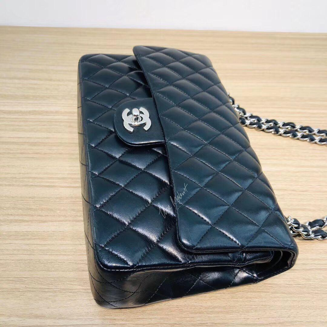(Full Set With Receipt) Authentic Chanel Medium Black Lambskin Double Flap Silver Hardware