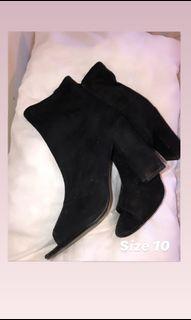 Black open toe boots