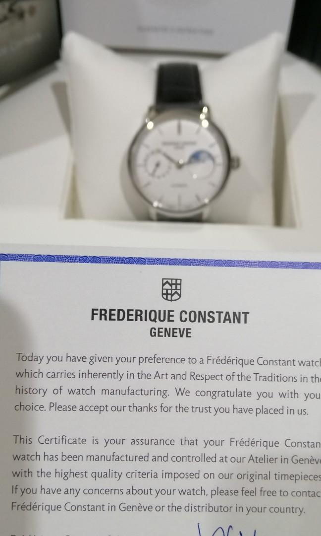 Brand New Frederique Constant Slimline Moonphase White automatic iwc Patek Cartier LV JLV