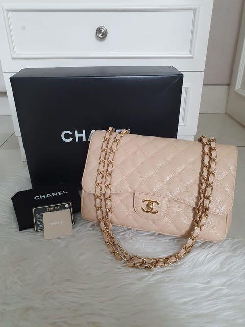 Chanel Classic SF Jumbo beige ghw caviar seri 13 with db card holo box, excellent