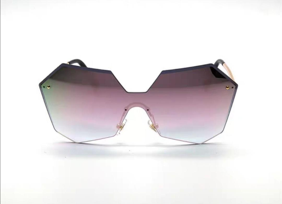 Ladies Fashion Irregular Frameless Pink Reflective Mirror One Piece Sunglasses eye glasses