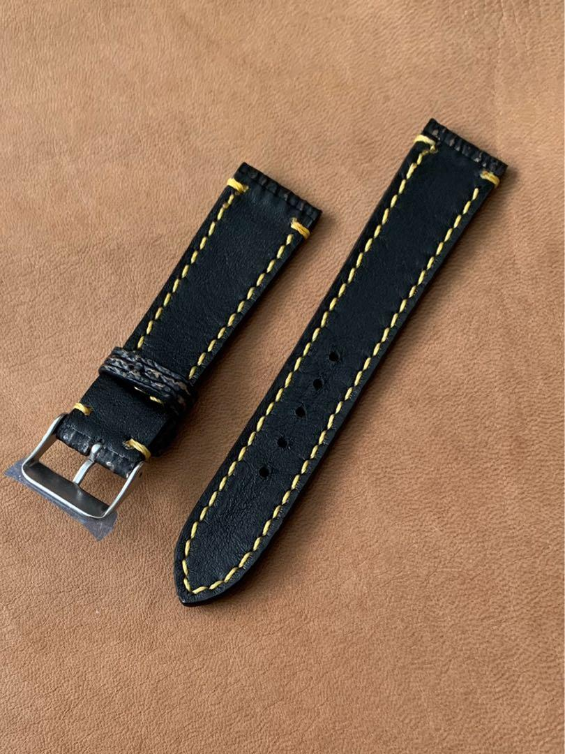 [SOLD] 20mm/18mm Black with Golden Brown Shark Leather Watch Strap with Yellow Brown Stitching) 20mm@lug/18mm@buckle Standard length- L:120mm, S:75mm