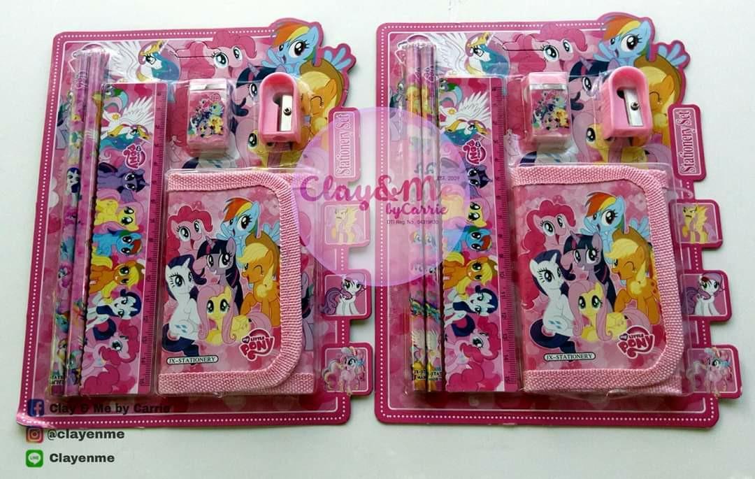My Little Pony school supplies set ( Ruler, Wallet, sharpener, eraser & pencils)