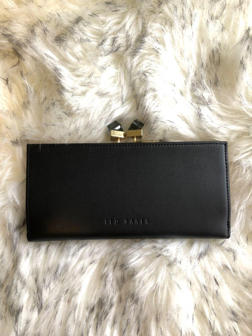New - Ted Baker Genuine Leather Black and Blush Pink Wallet with Crystal Clasp