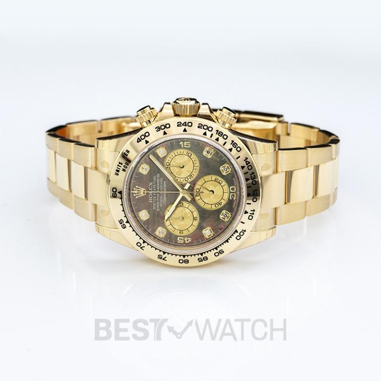[NEW] Rolex Cosmograph Daytona  18ct Yellow Gold Automatic Black Mother Of Pearl Dial Diamonds Men's Watch 116508-0011