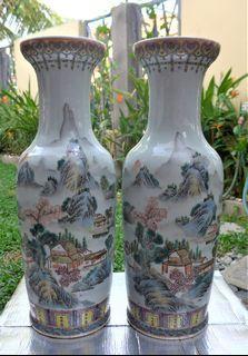 Tall Chines Enamel procelain vase in pair