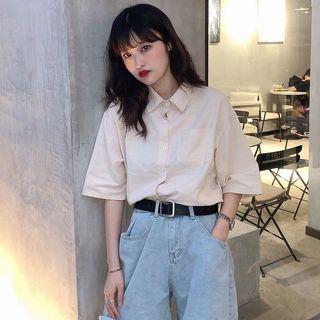 韓版純色 短袖襯衣  (杏)❤️ 翻領 當薄外套