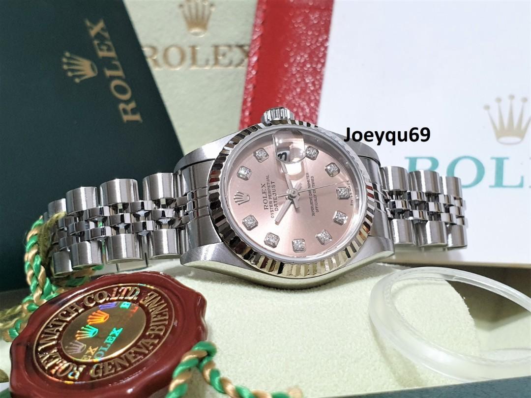 (CERT/BOX/Etc) FULL SET! ROLEX DATEJUST PINK10 BIG Diamonds White gold 79174 Auto Cal 2235 Etching Sapphire