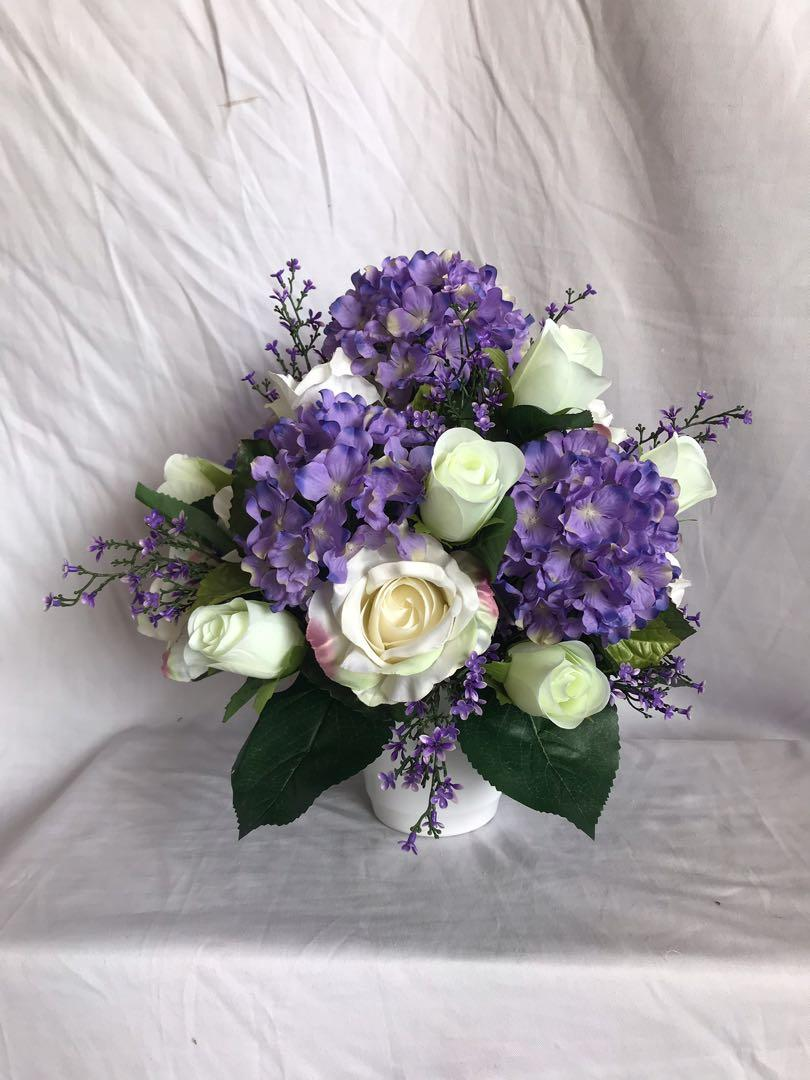 Artificial Flower Arrangement Hydrangeas And Roses Gardening Flowers Bouquets On Carousell