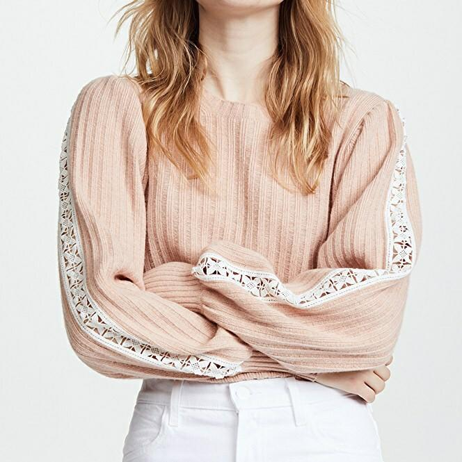 See by Chloe Knit and Lace Sweater Cameo Rose XS NWT