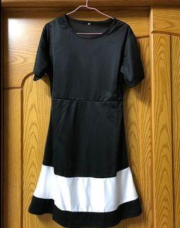 黑色洋裝黑底白色塊 2XL