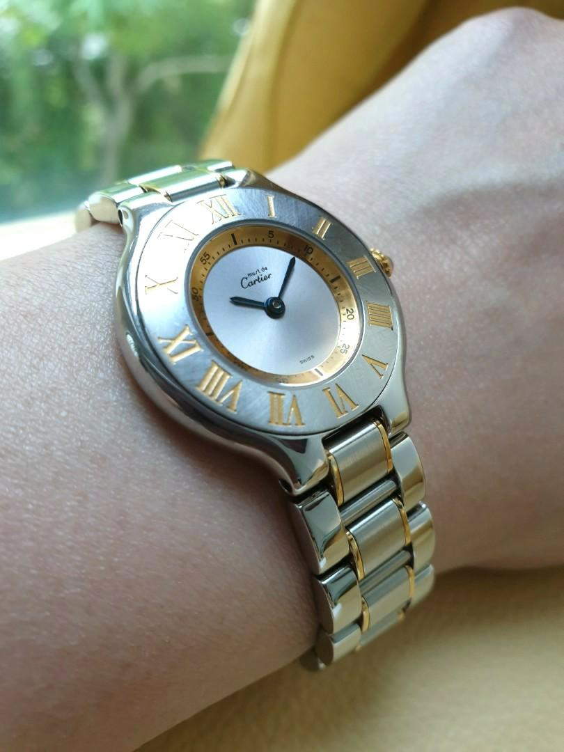 Cartier Must de Cartier 1340 Gold Steel Quartz Ladies                                                                                  Rolex Tudor Cartier Omega Iwc AP Chopard Tag Heuer Apple