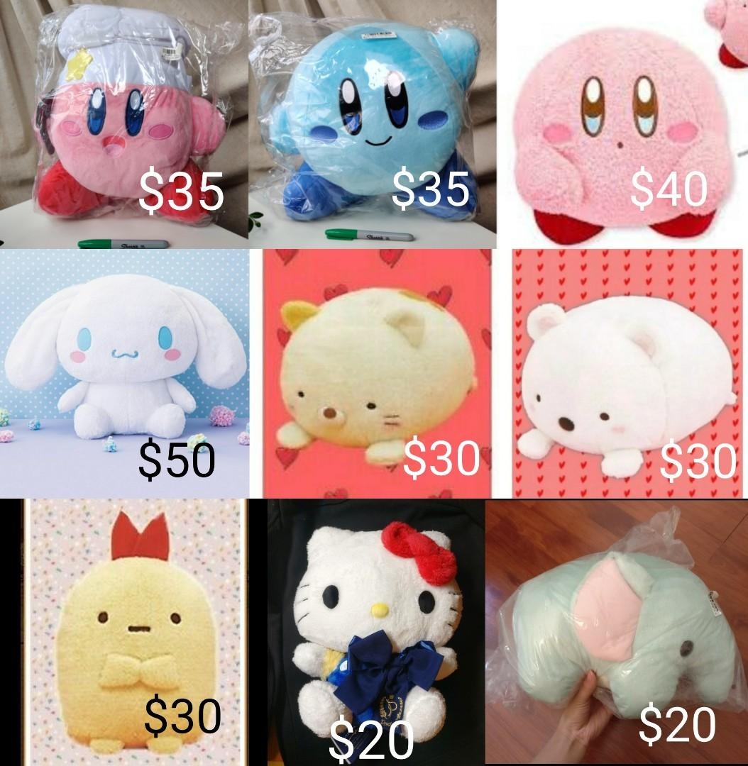 Japanese plushies stuffed toys Pokemon Hello Kitty Kirby