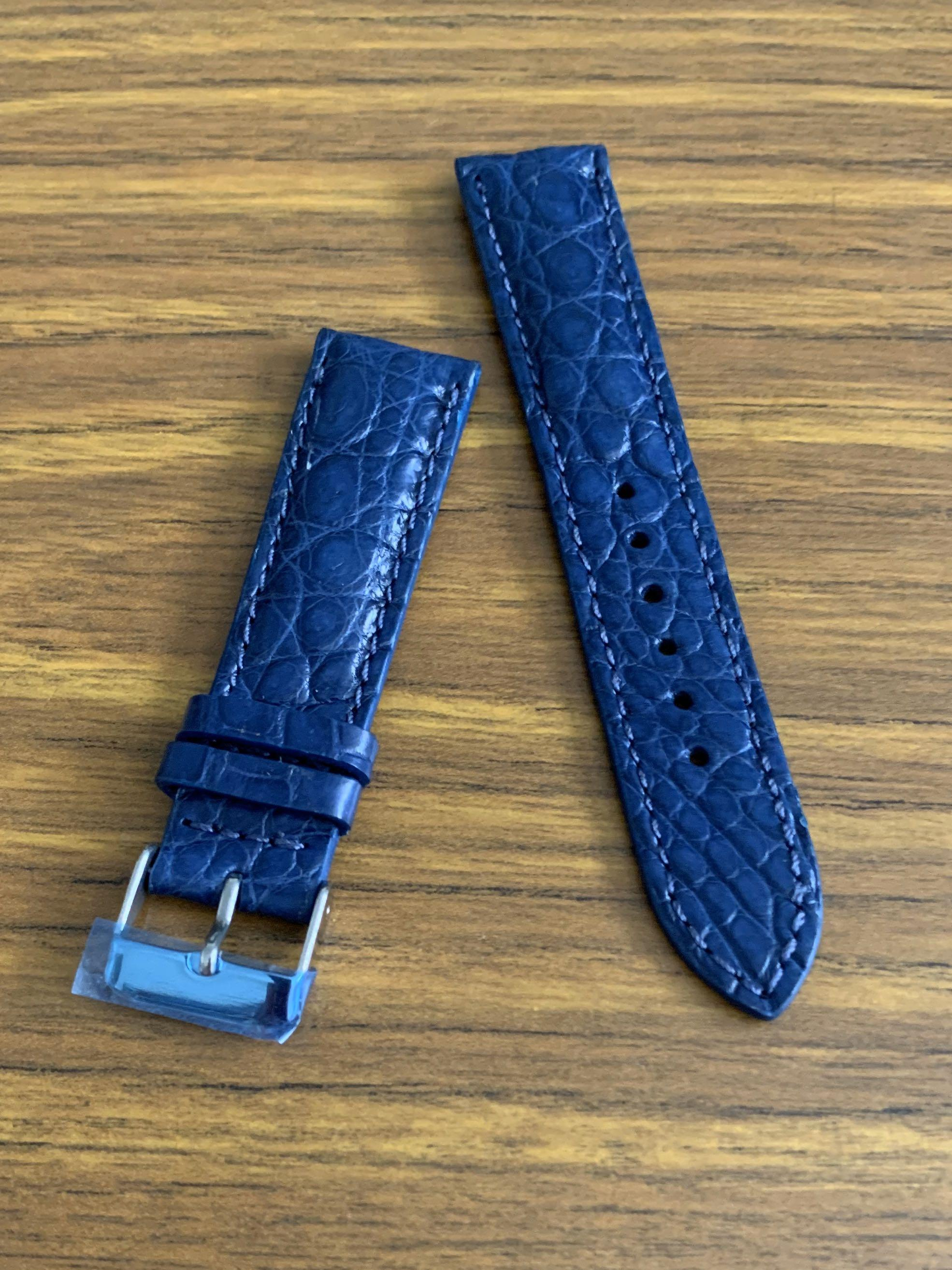 [DISCOUNTED] 20mm/18mm Authentic Monaco Blue Alligator 🐊 Crocodile Watch Strap (rugged outback scales, one of a kind- once sold no more 👍🏻😊) we have other croc scales in Monaco Blue 20mm as well, feel free to choose😊 -Standard length: L-120mm, S-75mm