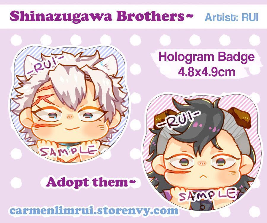Kimetsu No Yaiba - Sanemi & Genya (hologram cat badge)