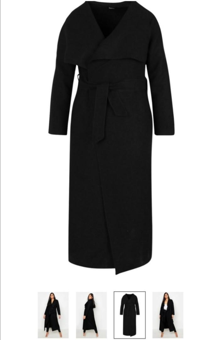 Maxi length wool wrap coat