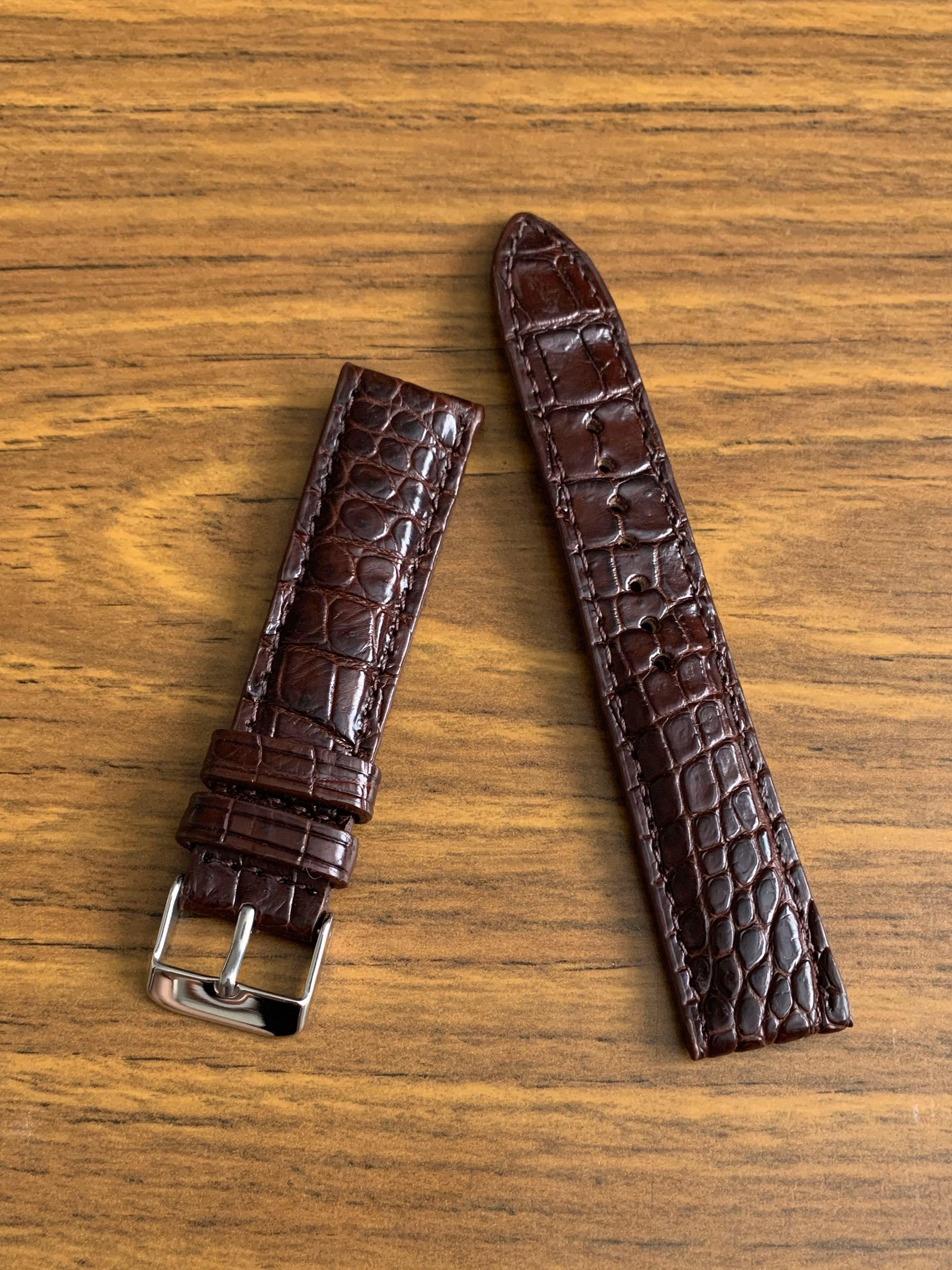 [DISCOUNTED] 20mm/18mm Authentic Dark Burgundy Brown Crocodile 🐊 Alligator (rugged multi scales) Watch Strap  - very nice on vintage and modern watches! standard length- L:120mm, S:75mm 😊only 1 piece!! CB SALE!!😊