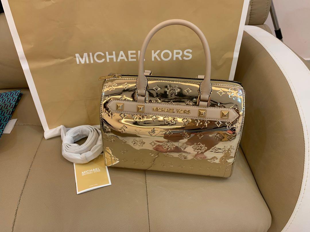 Ready Stock authentic Michael kors Bennett LG duffle satchel pale gold lv monogram Louis Vuitton mk crossbody bag