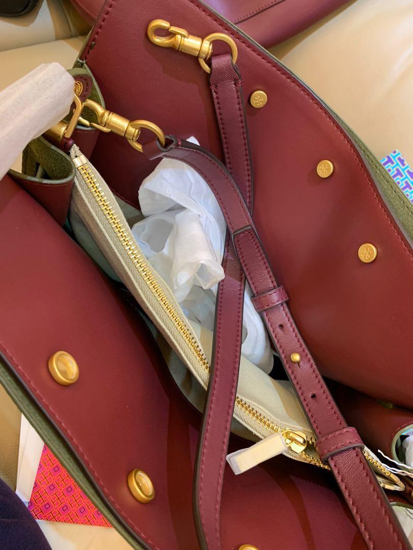 Ready Stock Authentic Tory Burch Lee Radziwill triple bag in green in big sling crossbody bag handbag wine red with crossbody strap Raya sales hbb
