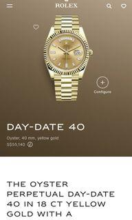 Rolex Day-Date 40 in 18 ct yellow gold with a champagne colour, diamond-set dial