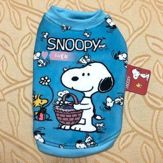 (僅試穿)Snoopy 史努比 寵物衣 M號 淺藍色 復活節圖案 無鈕扣款 保暖 狗狗衣服 貓咪衣服