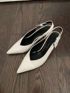 White Zara sling-back heels