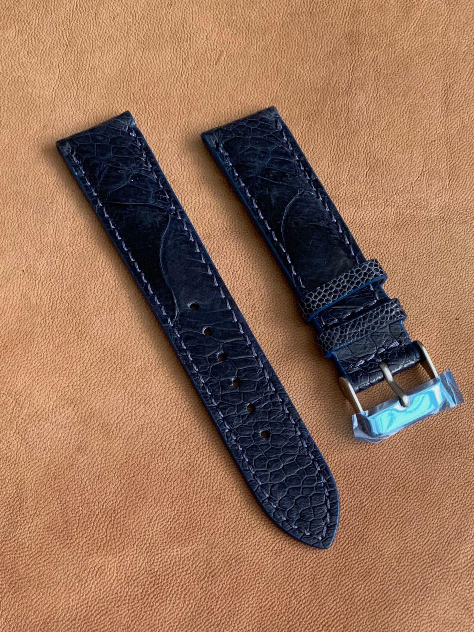 20mm/18mm Dark Blue Ostrich Leg Watch Strap (big scales and with stitching ) - 20mm@lug/18mm@buckle  20mm/18mm (LAST PIECE! 😊- one already sold! 👍🏻)
