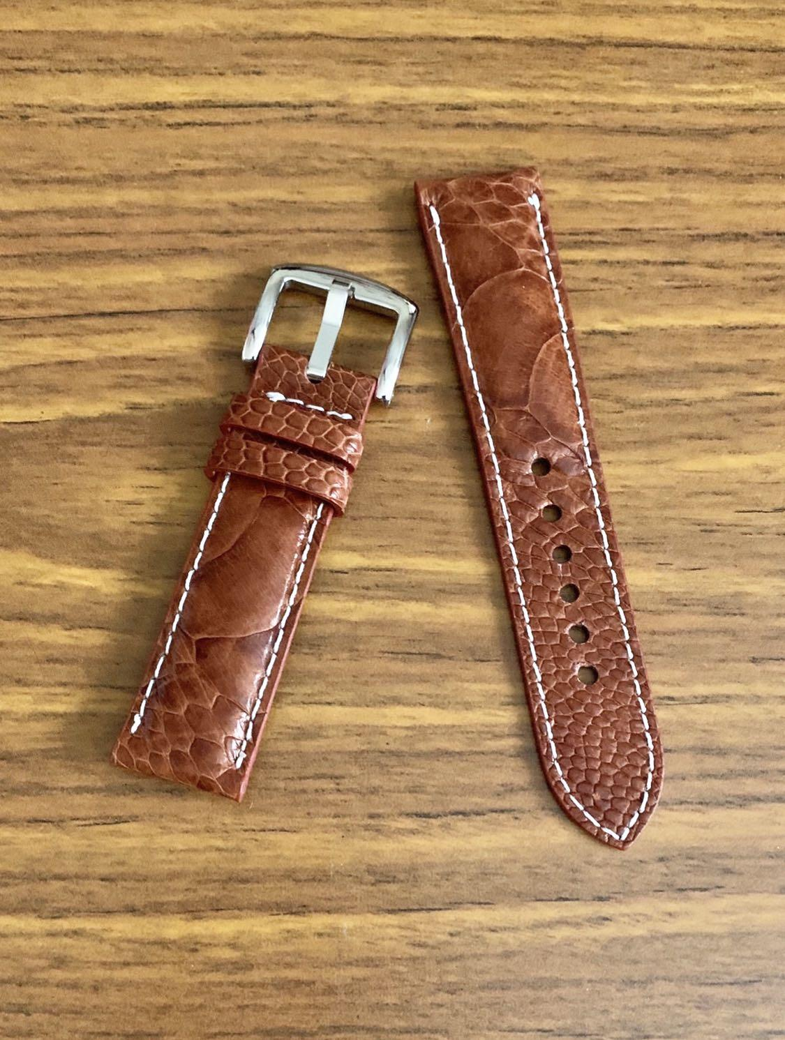 22mm/20mm Authentic Whiskey Brown Ostrich Leg (big scales) Leather Watch Strap with Ecru White stitching (one piece only, once sold- no more👍🏻)  Length- L:120mm S:75mm - ONLY PIECE!!😊 (we have other 22mm lug on discount, feel free to see 👍🏻)