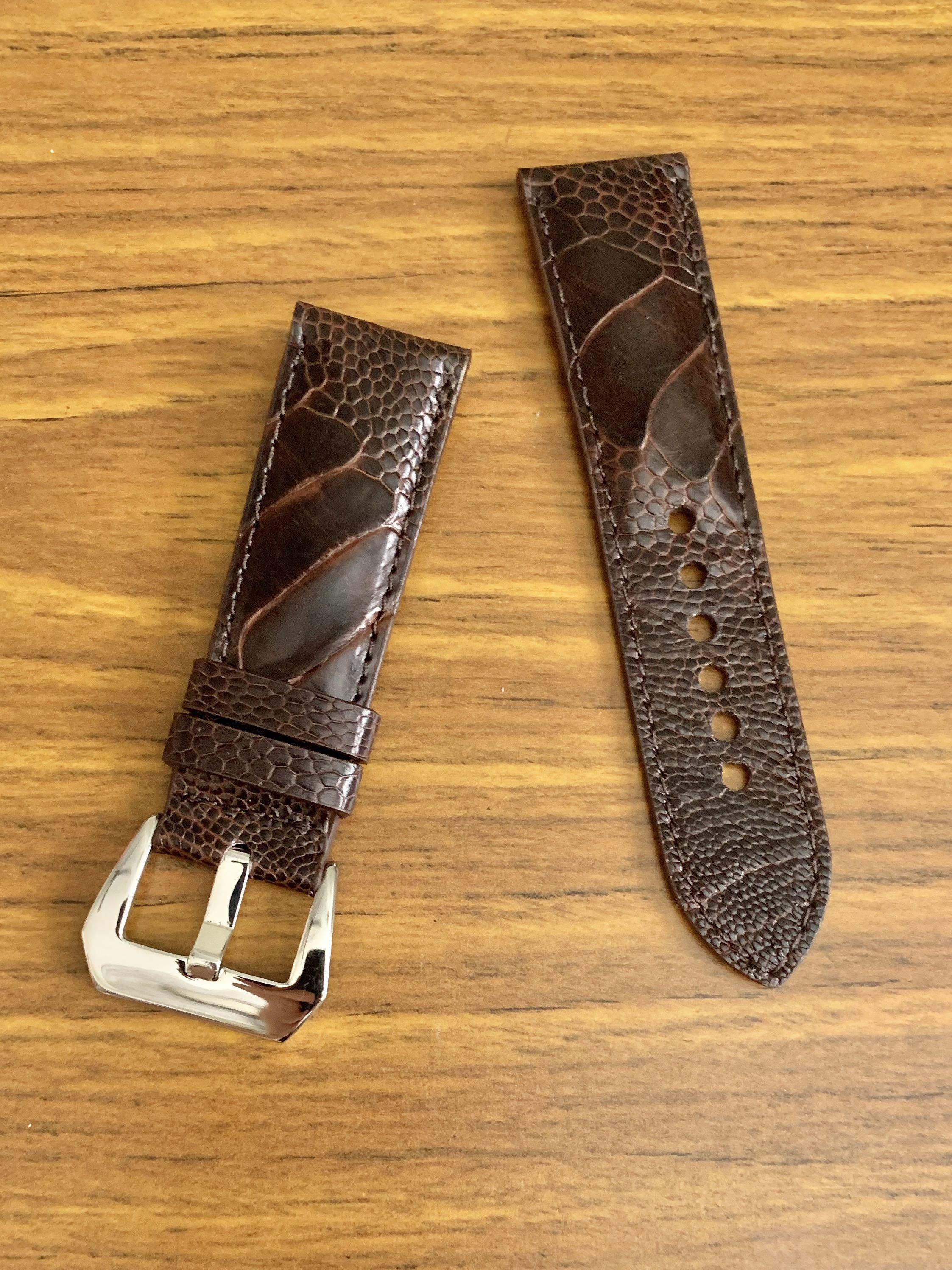 24mm/22mm Authentic Pecan Brown Ostrich Leg (big scales) Leather Watch Strap - (gorgeous scales- only piece like that, once sold no more 😊) (Standard length: L-120mm, S-75mm)