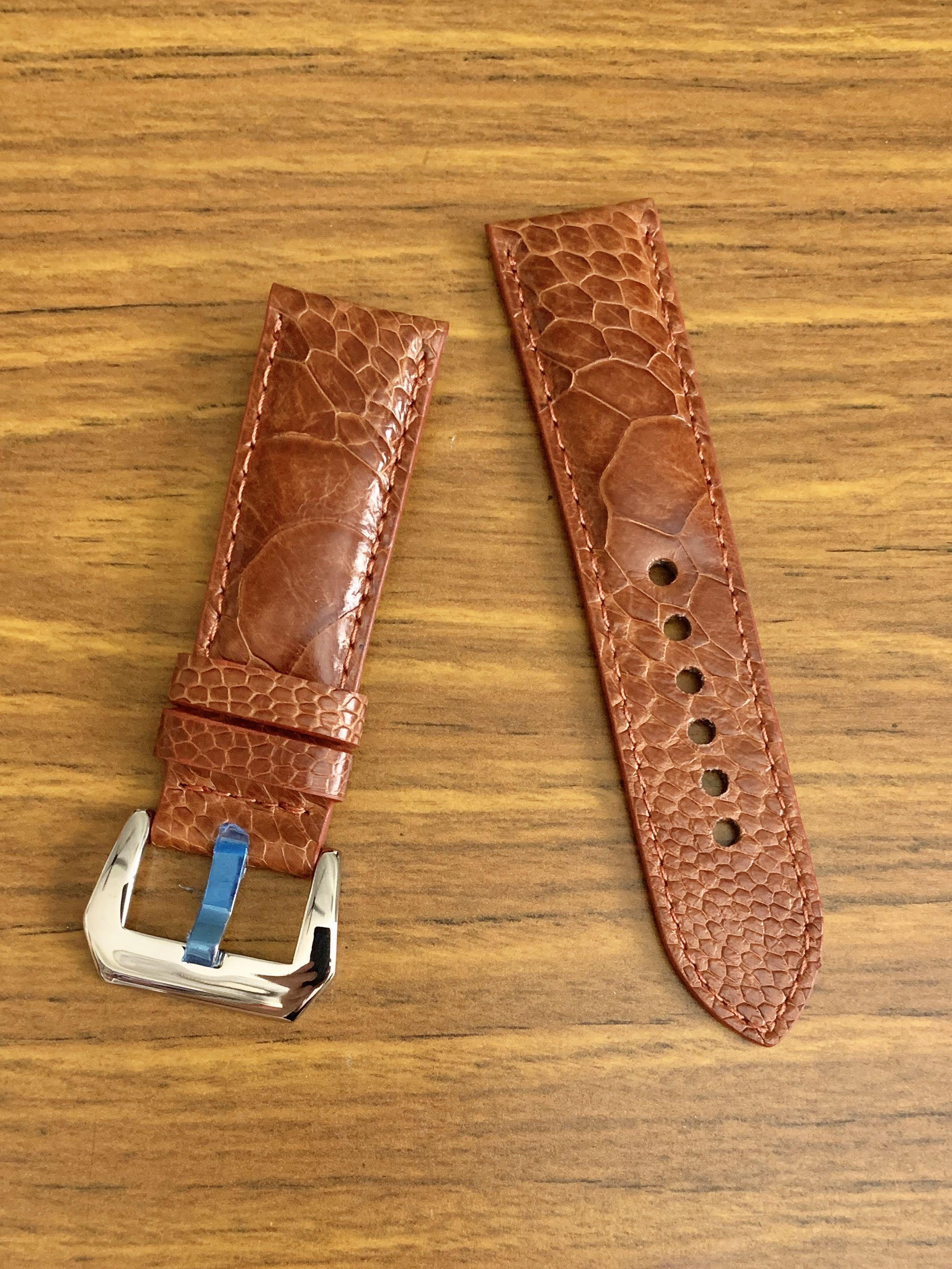 [AVAILABLE] 24mm/22mm Authentic Whiskey Brown Ostrich Leg (big scales) Leather Watch Strap (gorgeous scales L-120mm, S-75mm) IF RESERVED, PLS SCREENSHOT THIS ITEM AND TEXT US THRU AN ACTIVE LISTING TO BUY 🤗 Tq 🙏🏻)
