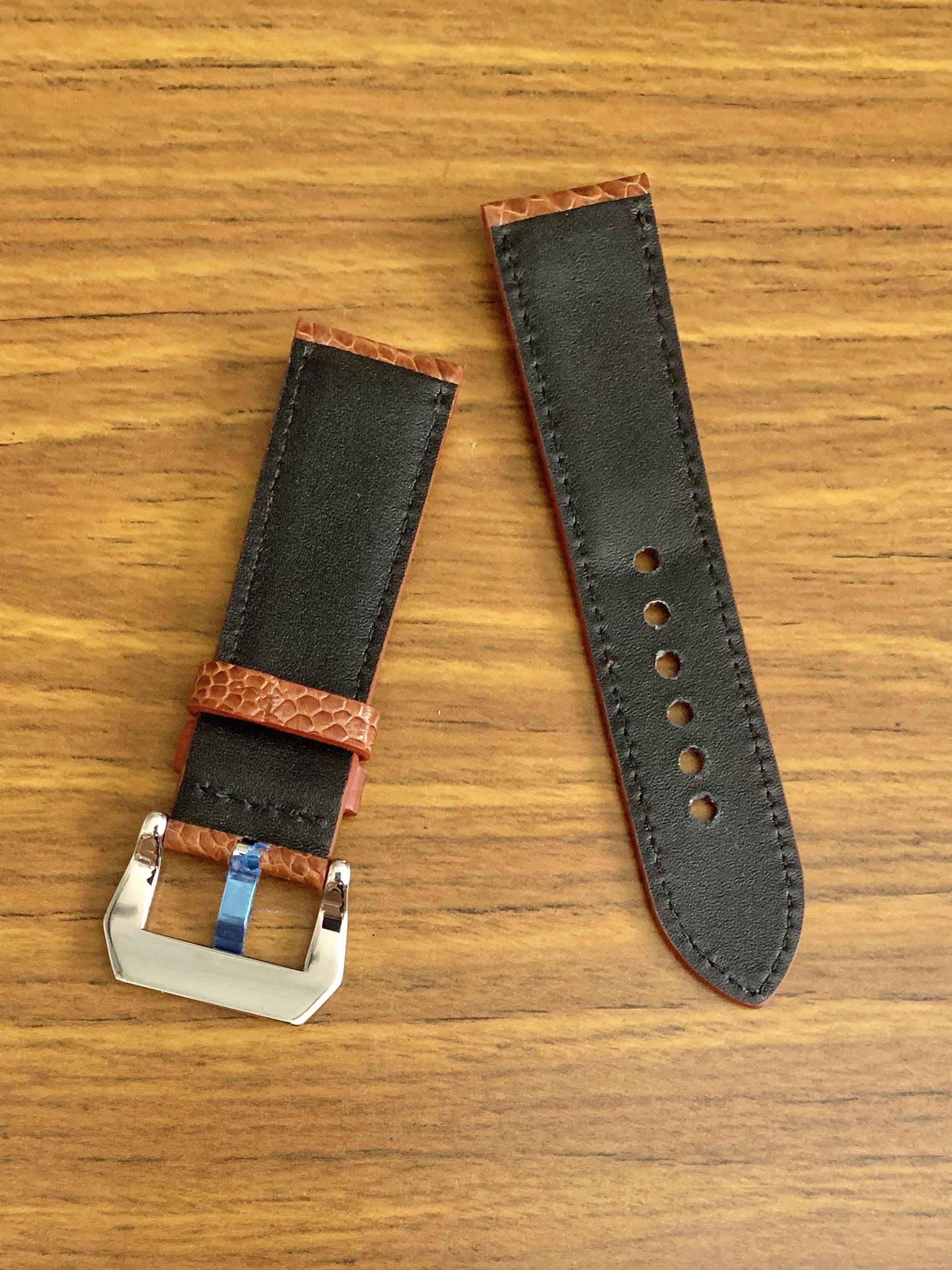 24mm/22mm Authentic Whiskey Brown Ostrich Leg (big scales) Leather Watch Strap - (gorgeous scales- only piece like that, once sold no more 😊) (Standard length: L-120mm, S-75mm)