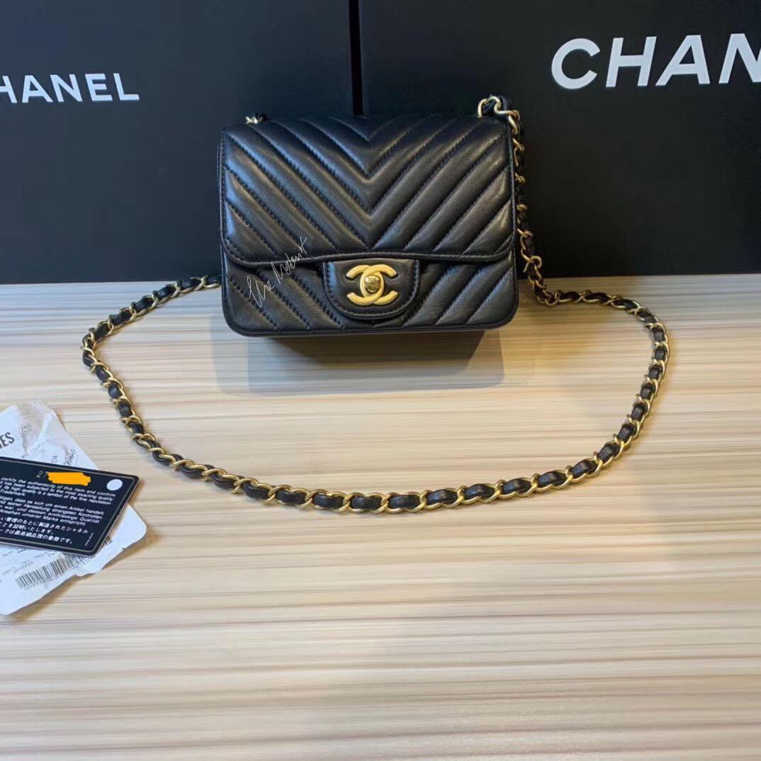 Authentic Chanel Black Lambskin Chevron Square Mini Gold Hardware Edge Stitching
