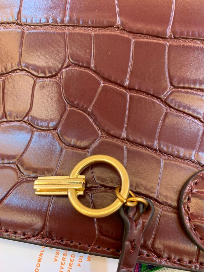 Authentic Tory Burch Lee Radziwill wine red sling bag handbag crossbody with strap 🐊 pattern skin hhbb