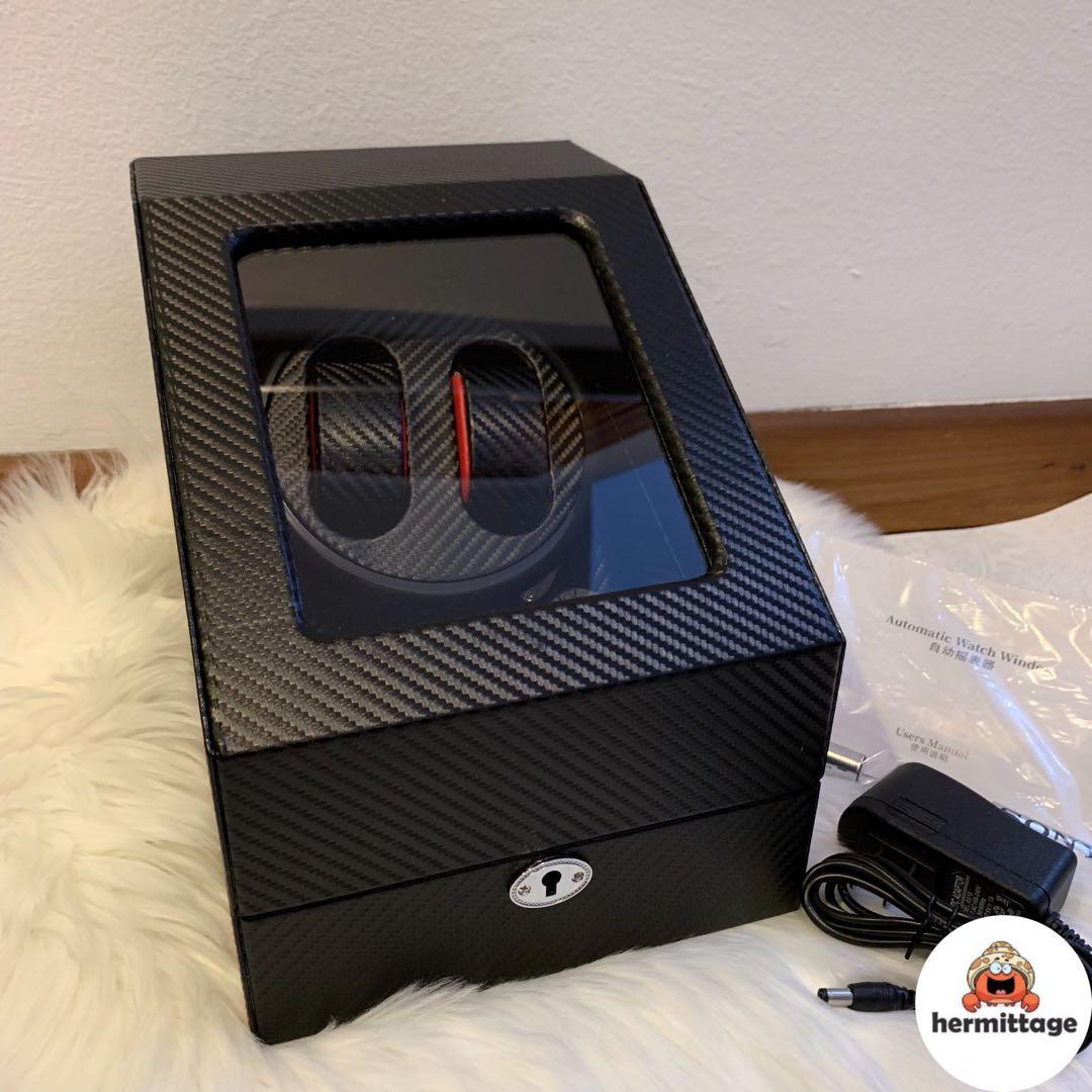 BRAND NEW AUTOMATIC LUXURY WATCH WINDER 2 + 3 (FULL CARBON FIBER WITH RED DETAILS) (suitable for rolex, ap, hublot, omega, iwc, seiko, tudor, panerai etc)