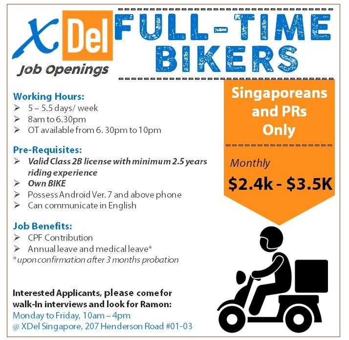 Full Time Courier Bikers (Ladies Welcome To Apply)