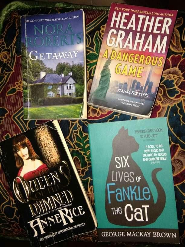 Getaway by Nora Roberts, The Queen of the Damned by Anne Rice,  A Dangerous Game by Heather Graham,  Six Lives of Fankle the Cat by George Mackay Brown (Bundle)