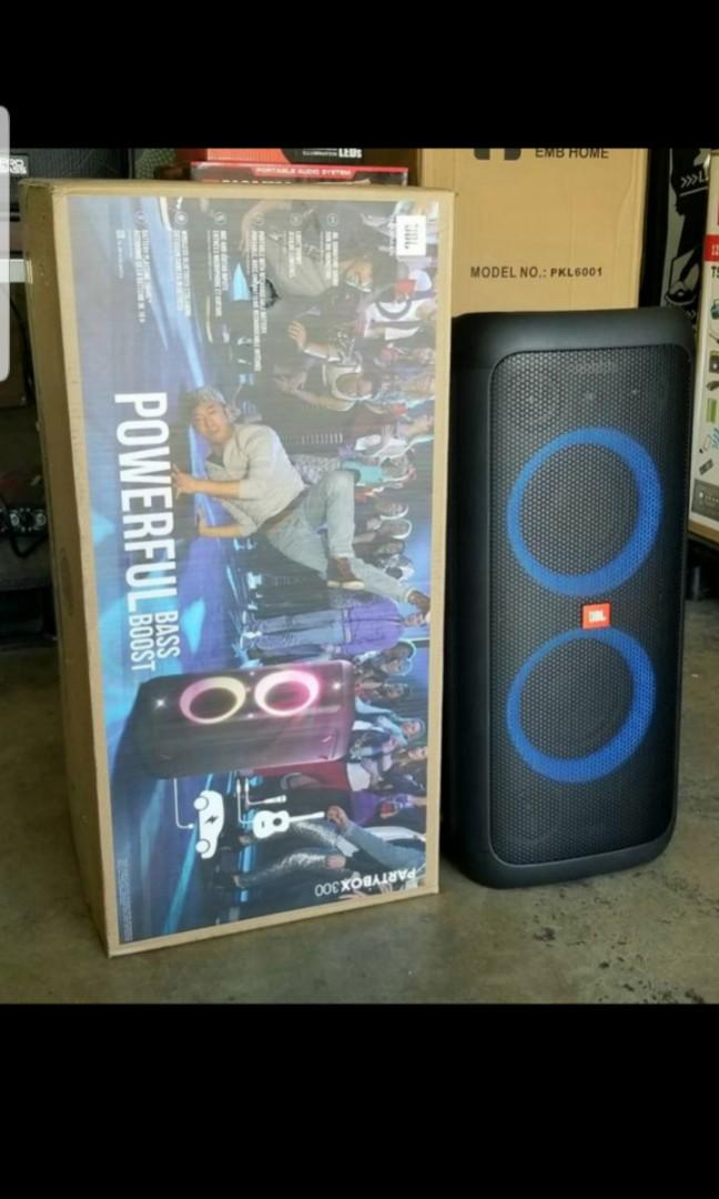 JBL Party box 300. Rechargeable speaker with bluetooth. USB. Microphone input. Power bank. I sell them Brand new. Never opened.