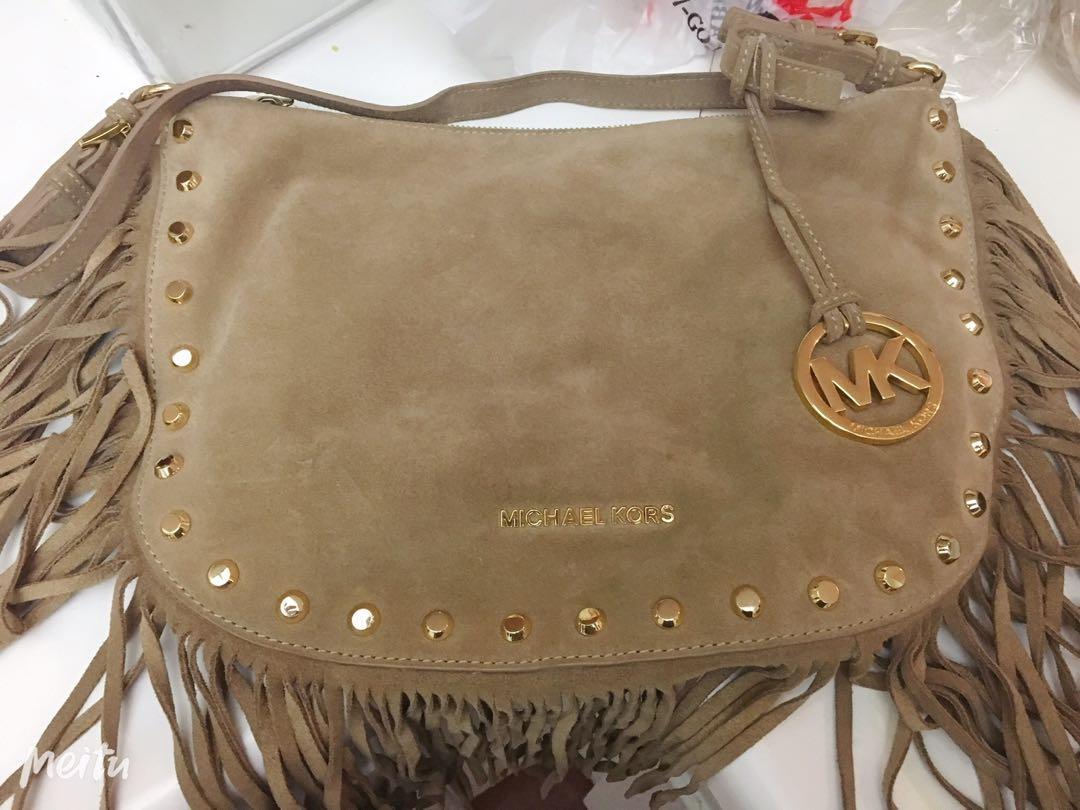 Michael Kors Dakota Suede Fringe Saddle bag-Medium